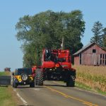 Passing slower moving farm implements needs to be done with caution. Motorists are reminded that it is illegal to pass a farm implement or an agricultural commercial motor vehicle in a no passing zone; when passing in a passing zone, be sure there's a safe passing distance; and look ahead for other vehicles and for driveways into farms or fields, intersections and road structures that may cause the farm implement operator to change road position.